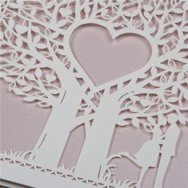 Romantiche Partecipazioni Nozze Piegate Laser Cut Albero Sposi WZL0014 [WZL0014] - €0.00 :