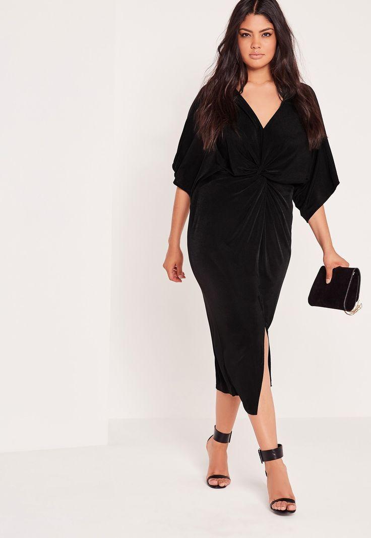 Plus Size Black Slinky Kimono Midi Dress in 2019 | Kleider ...