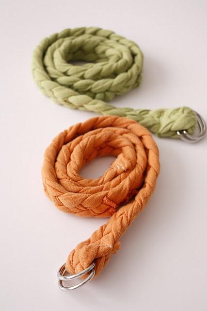 braided belt from t-shirt. cute!