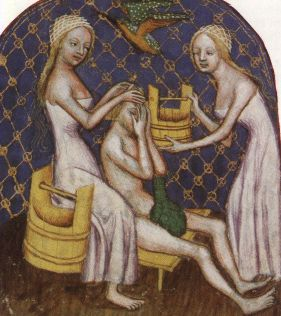 Many images here of bathing women in a chemise that would have worked under those wide-necked french cotehardies