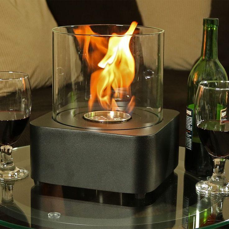 sunnydaze cilindro ventless bio ethanol tabletop fireplace black steel outdoor dcor