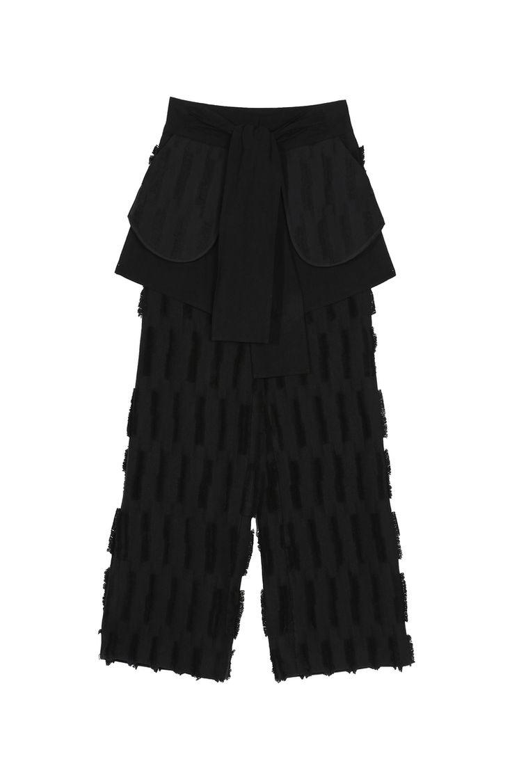 <p>Black Italian cutwork cotton wide leg trousers with flattering high waist tie detail.External ...