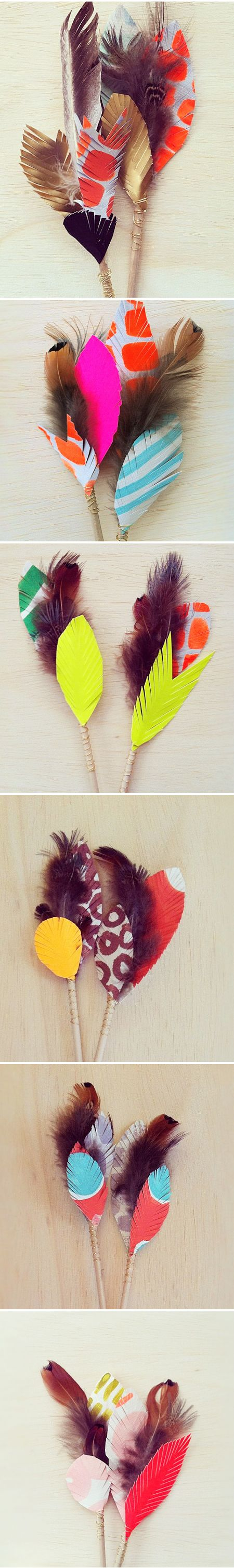 paper feathers.... / wonderful color combos.: Boutonniere Inspiration, Paper Feathers, Color Combos, Painted Feathers, Art, Britt Bass