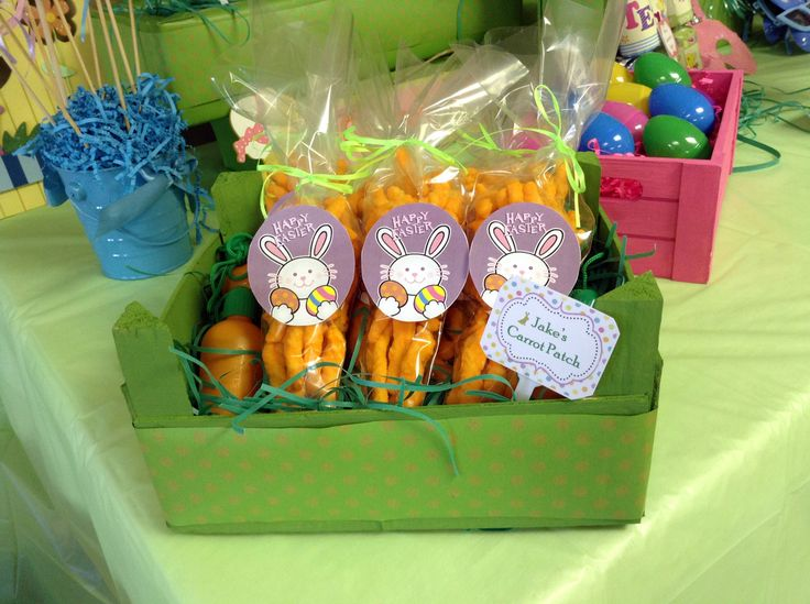 Easter party decorations - cheesies as carrots with carrot bubbles