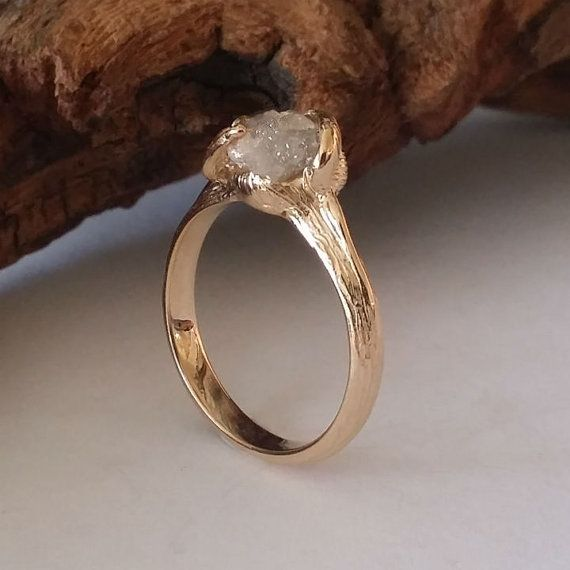 Twig Engagement Ring Raw Uncut Rough Diamond Engagement Ring