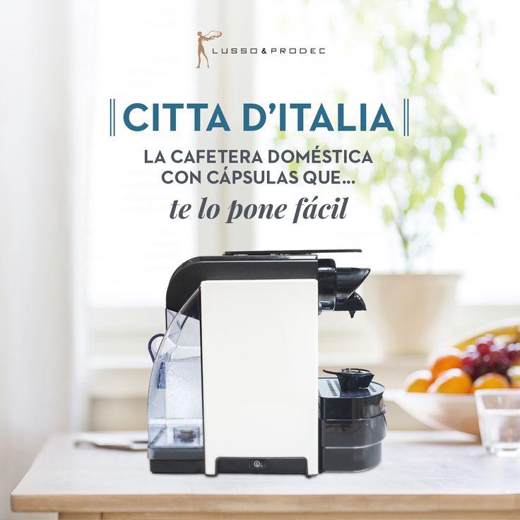 Citta D´Italia lanza en España gracias Lusso Prodec su primera cafetera de cápsulas  Se trata de una cafetera moderna, con un diseño vanguardista, una pieza exclusiva para el hogar con la que es posible tomarse un auténtico café italiano de manera eficiente, cómoda y rápida, con un solo click ¿Quieres más detalles?