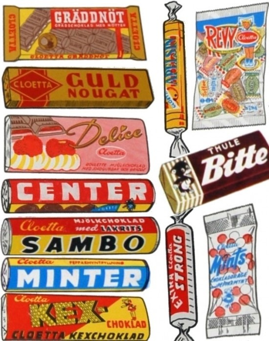 Collection of swedish sweet packaging from the 60s