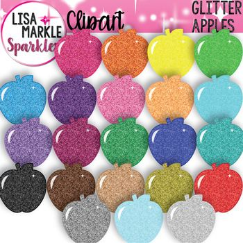 Start off the new school year with some sparkle! These colorful dazzling glitter apple clipart graphics will make fabulous teaching activities, classroom decor, posters, labels, teacher binders, and printables! Coordinate them with any classroom color