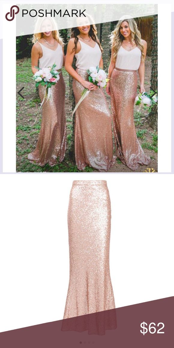Rose gold sequin maxi skirt NWT Very cute Brand new maxi skirt. Rose gold color. Skirts Maxi