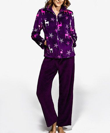 Take a look at this Purple Reindeer Zip-Up Lounge Set - Women on zulily today!
