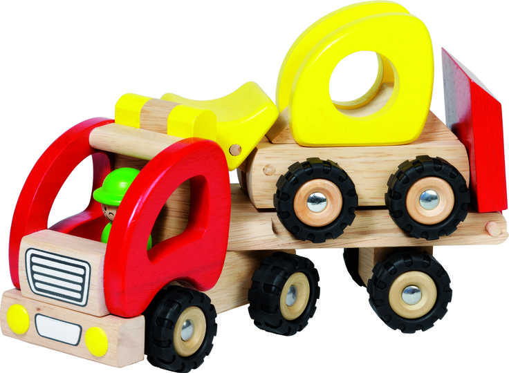 Natural and high quality toys to the development of the skills of children. Trailer with wheel loader