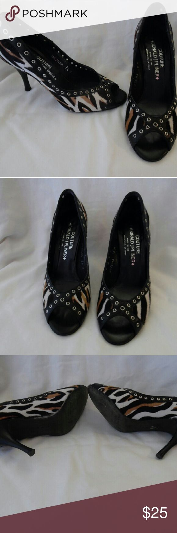 "Donald J Pliner Animal Print Pump ""Zelma"" Donald J Pliner Zelma peep toe heel leather with fur like material for animal print Donald J. Pliner Shoes Heels"