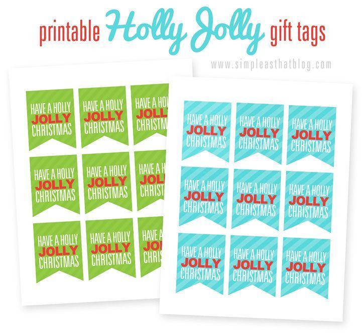 Imprimir Rojo alegre Etiquetas de regalo de Navidad
