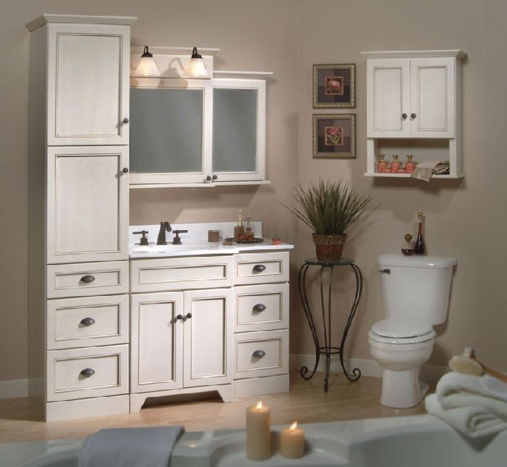 single sink vanity with towers - Google Search