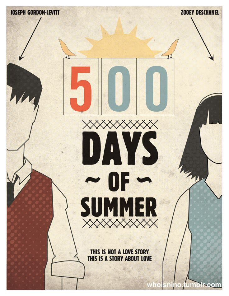 500 DAYS OF SUMMER: Movie Posters, Summer Posters, Rad Posters,  T-Shirt, Movie Mus, Design Graphics, Summer Love, Tv Movie Books, Design Art Posters