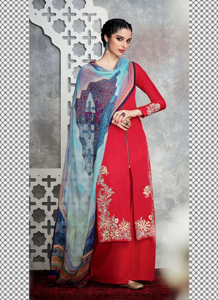 TIMELESS RED N BLUE FLORAL EMBROIDERED PALAZZO SUIT