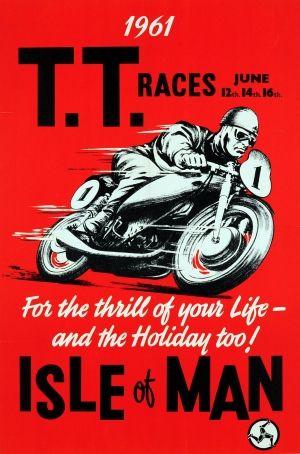 TT Races 1961 Isle of Man - original vintage poster listed on AntikBar.co.uk