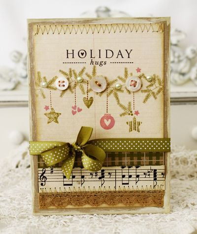 Such lovely, peaceful hues at work on this beautiful Christmas card. #Christmas #card #handmade #card_making #paper_crafts #scrapbooking #green