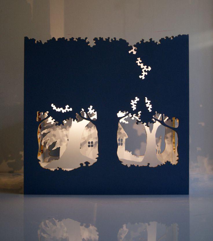 """""""Le théatre enchanté"""", lampe d'ambiance en bois"""