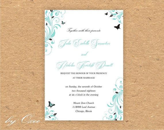 Printable Wedding invitation template Tiffany blue and by Oxee