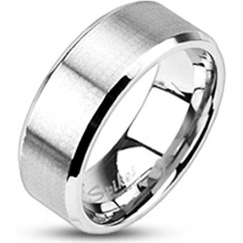 Size 7- Spikes Brushed Stainless Steel Beveled Edged Band Ring