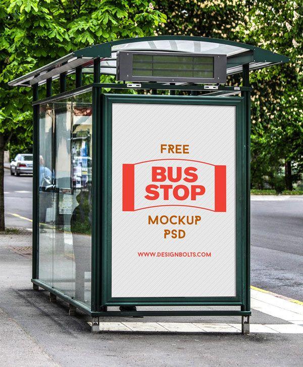 Free Outdoor Advertising Bus Stop Mockup Psd 3 4 Mb Designbolts Branding Pinterest Billboard And