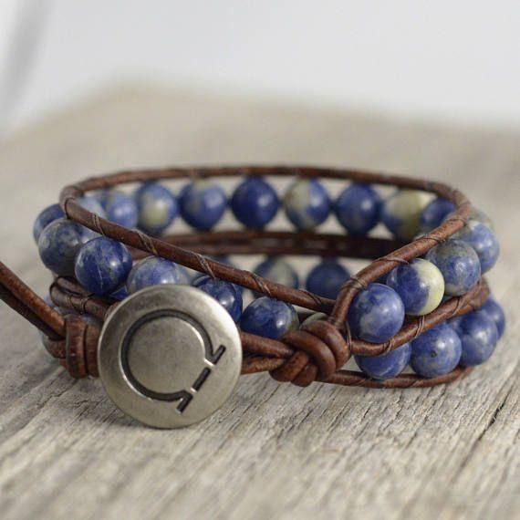 Sodalite bead bracelet. Blue beaded leather wrap. Unisex