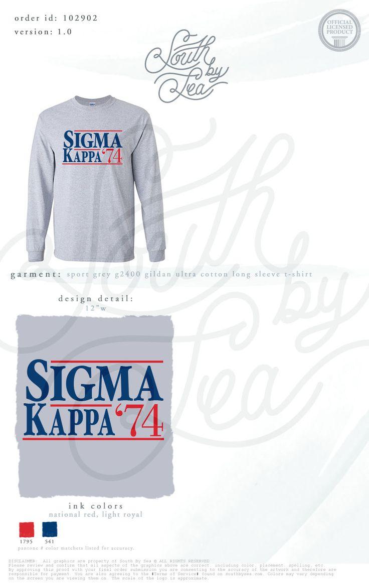 Sigma Kappa | SK | Vintage Campaign T-Shirt Design | Sigma Kappa 74 | South by Sea | Greek Tee Shirts | Greek Tank Tops | Custom Apparel Design | Custom Greek Apparel | Sorority Tee Shirts | Sorority Tanks | Sorority Shirt Designs