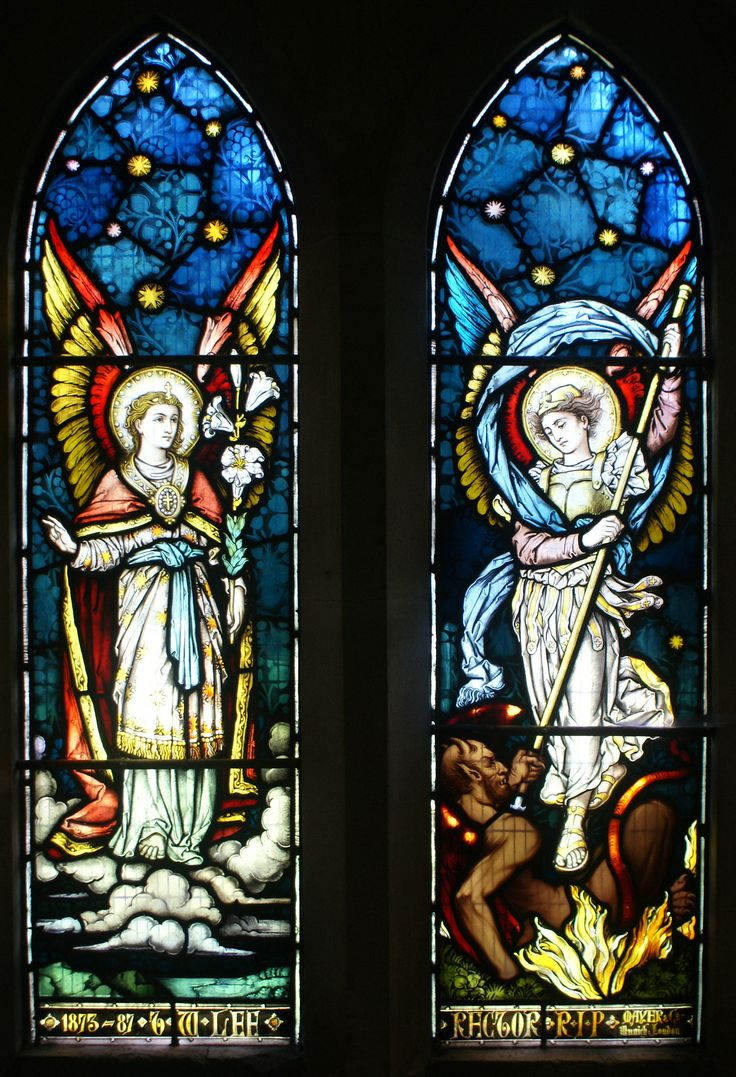 St Gabriel & St Michael the Archangels by Mayer. St Michael church-on-Arrow. St Gabriel is show with the Lilies, whilst St Michael is shown ...