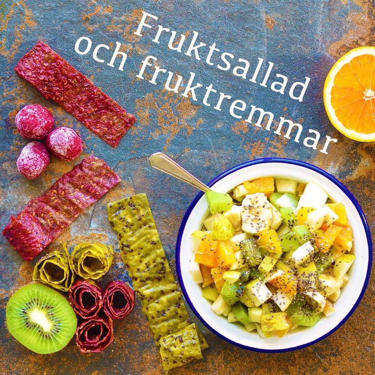 Fruktsallad och fruktremmar! Receptet finns i meny 29. 😊🌱  www.allaater.se
