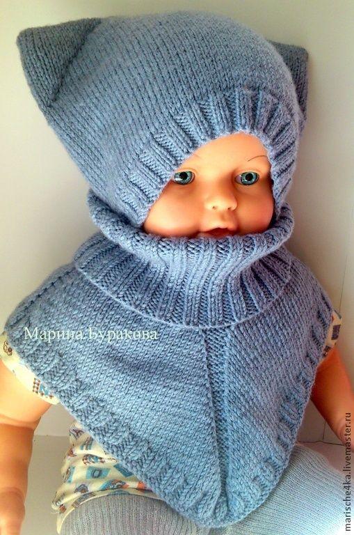 Купить Комплект шапочка и манишка - голубой, комплект вязаный, шапочка, манишка, манишка детская