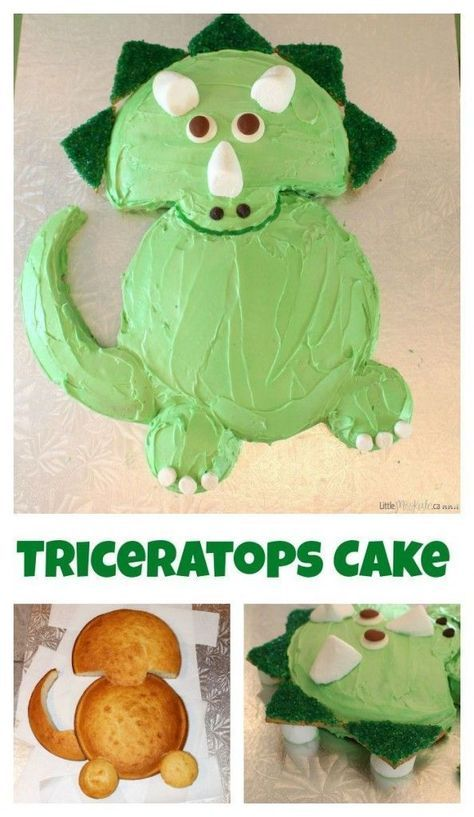 Easy triceratops dinosaur birthday cake recipe for a dinosaur birthday party! I love this idea and what a cute little gift for your kids to have a homemade cake this awesome! Perfect for a dino theme bday!
