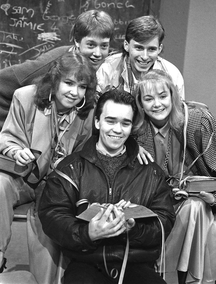 The cast of Grange Hill (clockwise from left) Susan Tully, John McMahon, Mark Baxter, Alison Bettles and Todd Carty