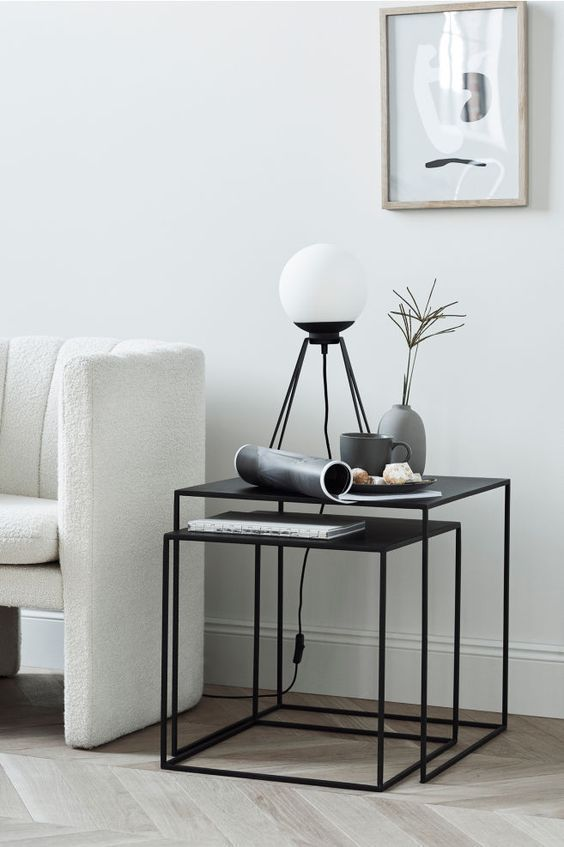 Minimal Side Table Modern Room Decor Black Side Table Living Room Living Room Side Table