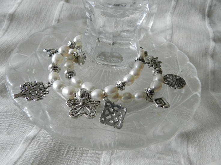 Double fresh water Pearl charm bracelet