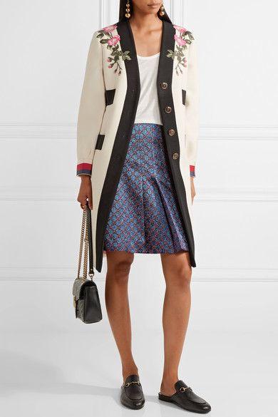 Gucci - Appliquéd Grosgrain-trimmed Wool Coat - Ecru