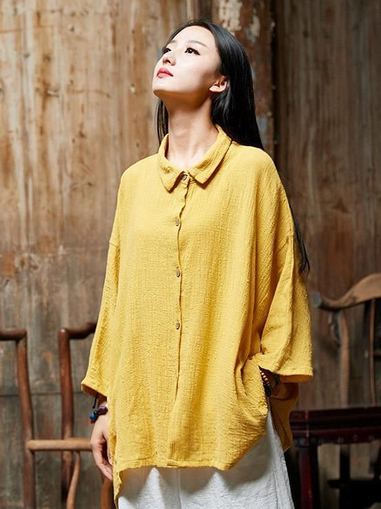 4daa22edc Loose Natinal Style Linen Pure Color T-Shirt – 2019   Passion for ...