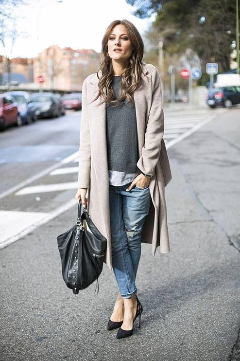 Boyfriend style. Beige coat, jeans, grey sweater
