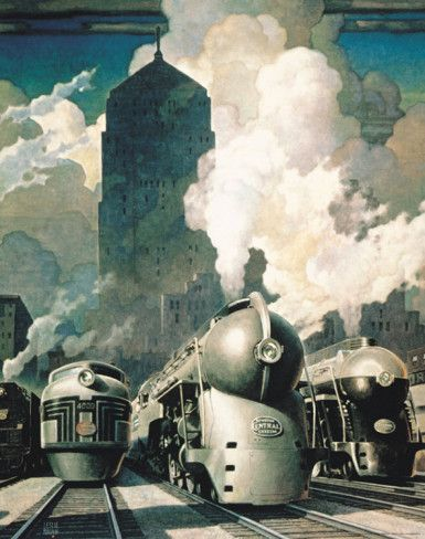 Jonas said he liked this one. Put it up in his room. New York Exchange steam engines from All Posters.