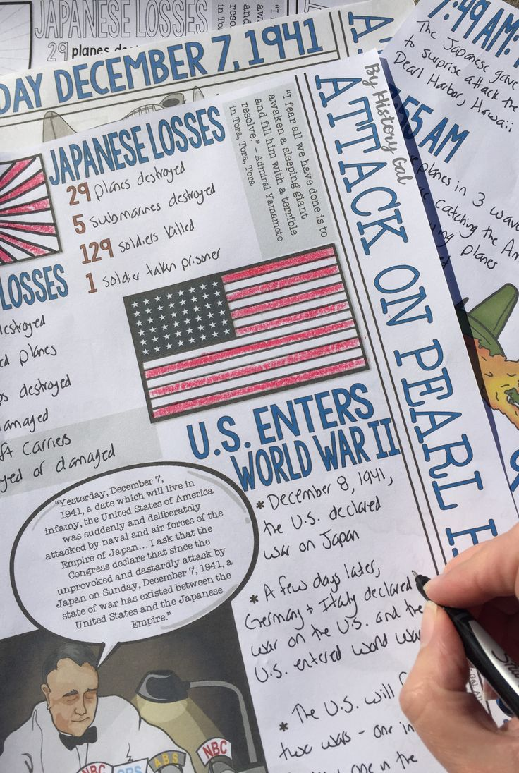 Students can color and doodle as they learn about the Japanese attack on Pearl Harbor on December 7, 1941. These graphic notes summarize the events that occurred before, during, and after the attack on Pearl Harbor. What a great way to introduce the United States entry into Wold War II! Great for your 8th, 9th, 10th, and 11th grade classroom or homeschool students! Middle school & High School approved! WWII $