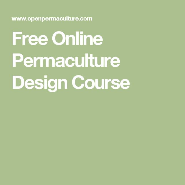 Free Online Permaculture Design Course