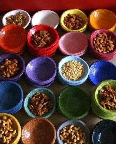 ample use of small bowls.