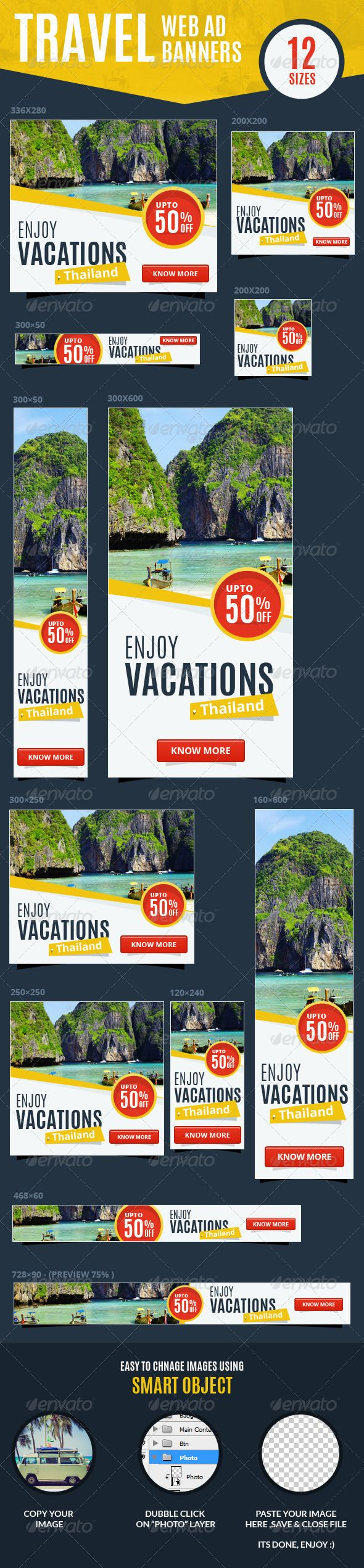 Multipurpose Travel & Vacations Web Ad Banners - Banners & Ads Web Elements