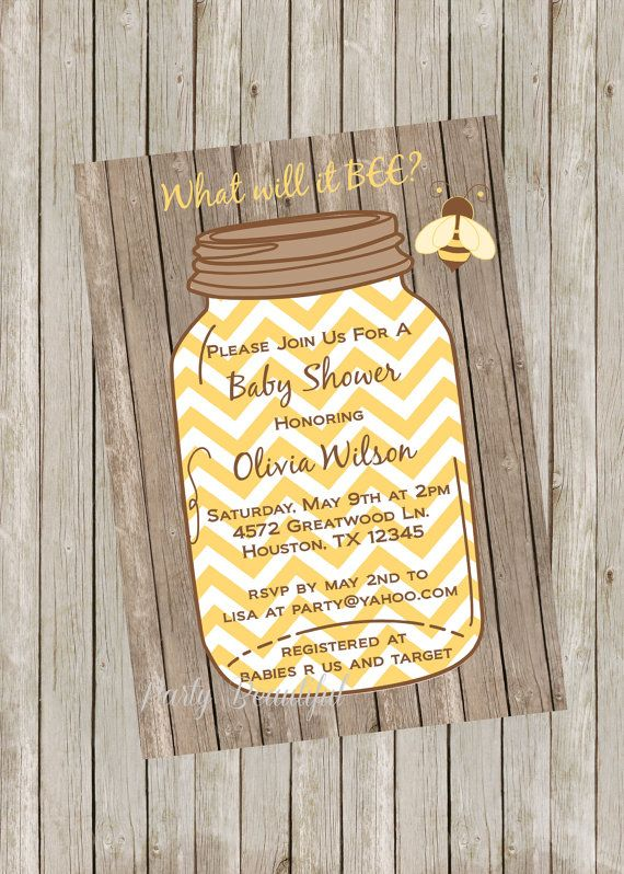 Neutral Baby Shower Invitation-Printable What Will it Bee...yellow chevron