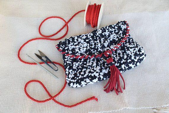 Nautical Bags, Nautical Clutch, 4th of July, Crochet Crossbody Bag, Navy Clutch, Crochet Clutch Bag, Boho, T Shirt Yarn Bag, Clutch Purse