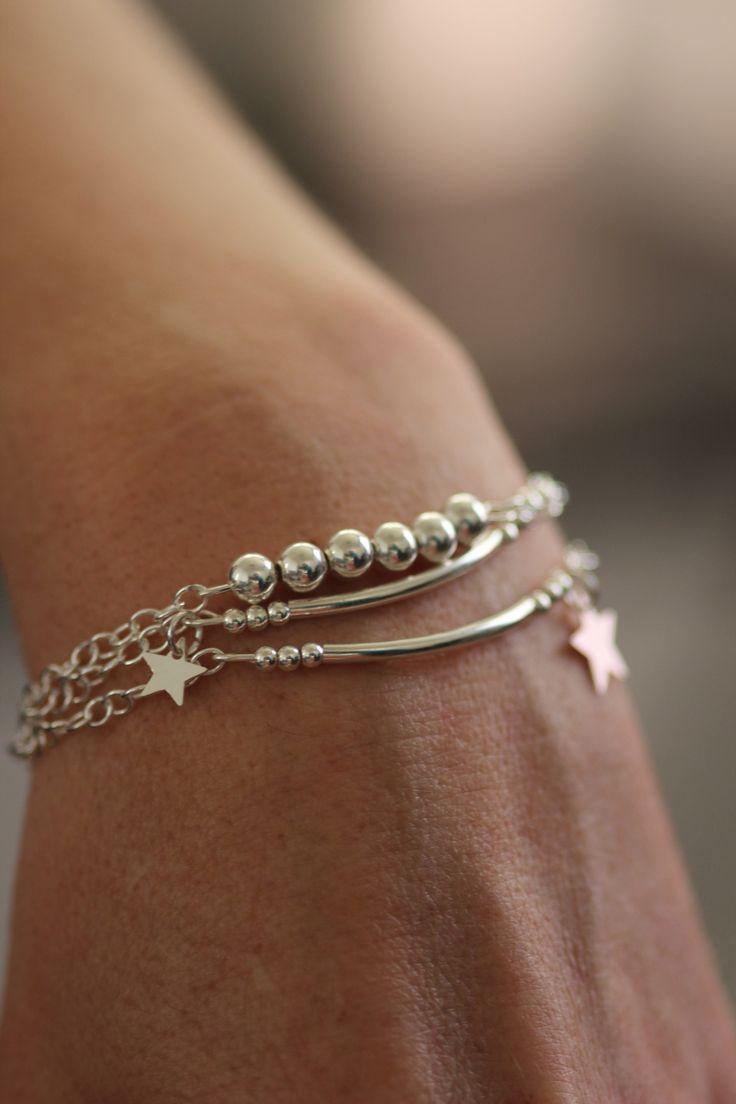 Bracelet multi rangs en argent perles et étoiles : Bracelet par les-caprices-de-melina