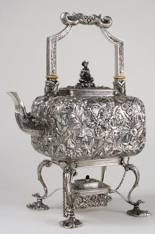 The Roosevelt Family (Eleanor & Franklin Delano) Samuel Kirk & Son Repousse Chinoiserie Hot Water Kettle, c1880.