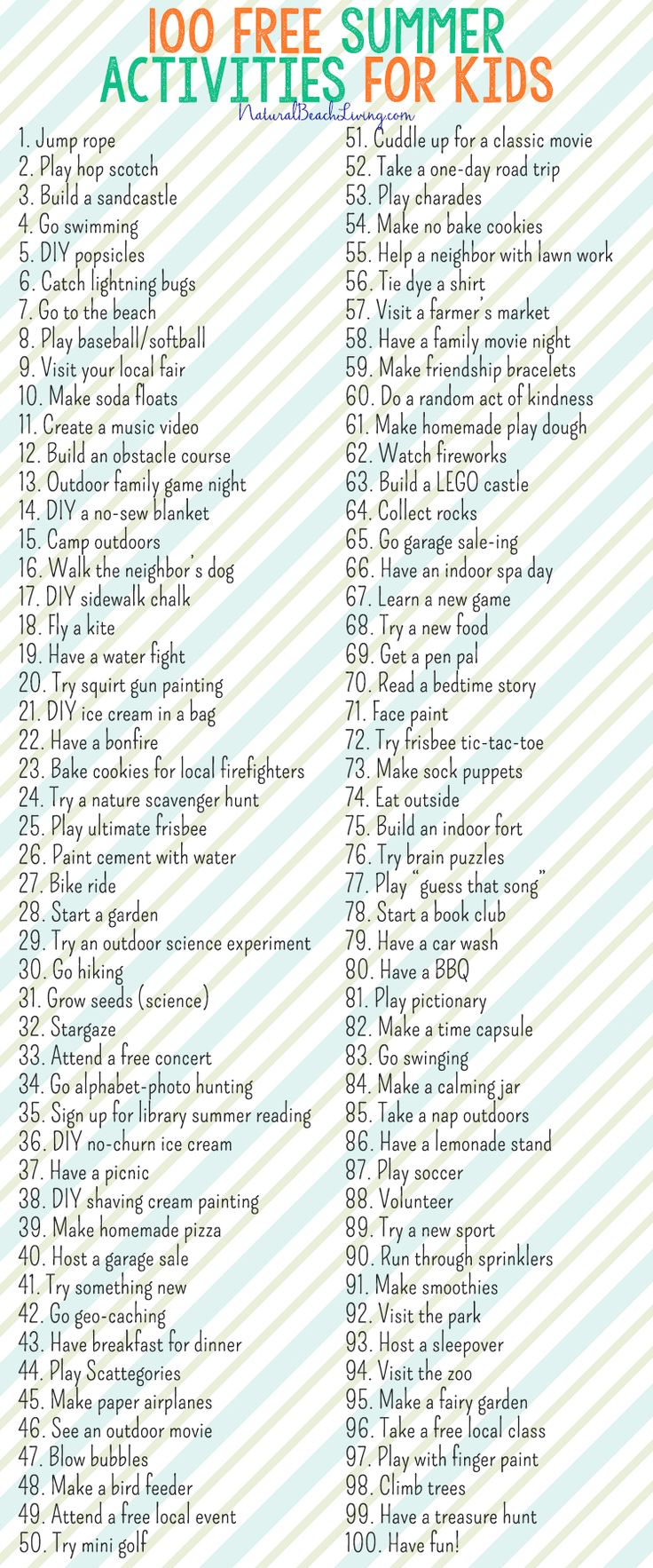 100 Free Summer Activities for Kids, Awesome List of things to do this summer! Great Ideas for Family Fun, Free Printable Summer Chart keep the family happy
