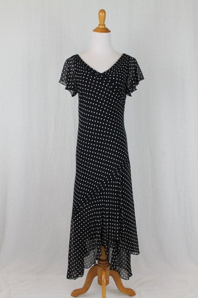 Adrianna Papell Black & White Polka Dot 100% Silk 1920's Flapper Style Dress 8 #AdriannaPapell #AsymmetricalHemFlapperTeaDress #Cocktail