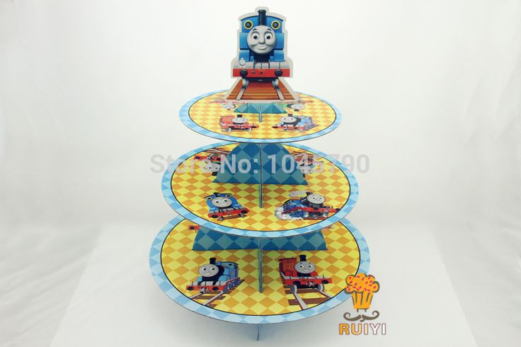 Free Shipping 1 X Cartoon Thomas Cupcake Holder Birthday Baby Shower Party Cardboard Cupcake Stand Hold 24 Cupcakes